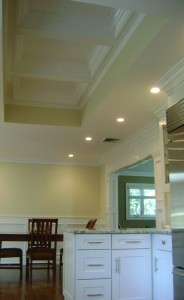 Long Island Dream Kitchen - Artistic Contracting - Dining Area, Architectural Millwork, and Coffered Ceiling